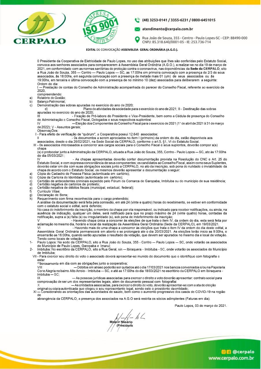Edital de convocação para Assembleia Geral Ordinária (A.G.O)